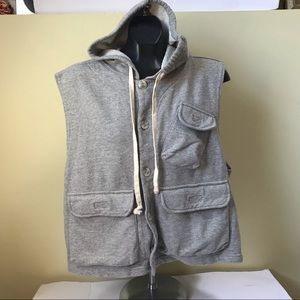 Roots NEW Hoodie Cargo Pockets Vest Sweatshirt Tag